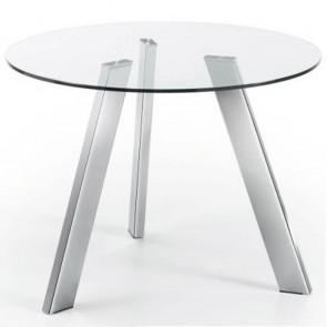 Tavolo vetro Carib con gambe cromate 130