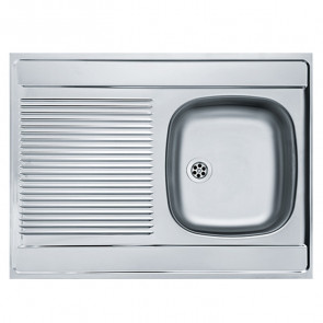 Lavello cucina d'appoggio 80x60 cm una vasca reversibile con gocciolatoio inox