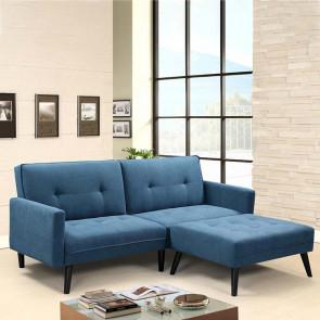 Divano letto con poggiapiedi imbottito Jorge in tessuto blu legno nero
