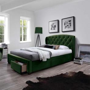 Letto matrimoniale 160 Ravello Gihome ® tessuto verde scuro con cassetti capitonnè