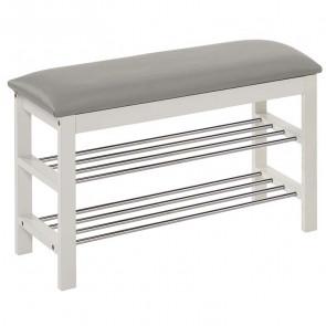 Panca scarpiera Zeo legno bianco acciaio ecopelle grigio