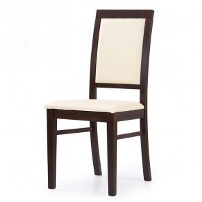 Sedia in ecopelle Olivia crema struttura faggio noce scuro classica