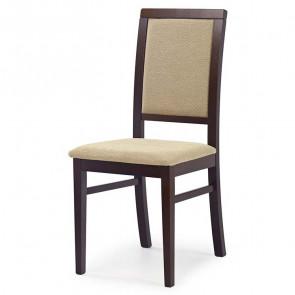 Sedia imbottita Olivia in tessuto beige con gambe in legno di faggio noce scuro classica