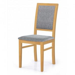 Sedia imbottita Olivia in tessuto grigio con gambe in legno di faggio rovere miele classica