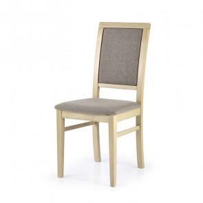 Sedia imbottita Olivia in tessuto grigio con gambe in legno di faggio rovere sonoma