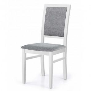 Sedia imbottita Olivia in tessuto grigio con gambe in legno di faggio bianco