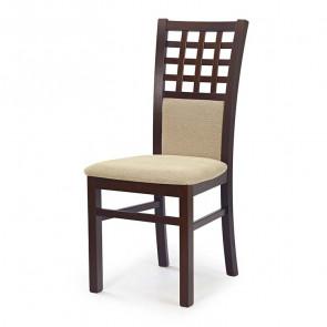 Sedia imbottita Betulla in tessuto beige con gambe in legno di faggio noce scuro classica