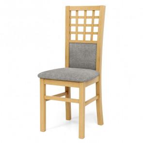 Sedia imbottita Betulla in tessuto grigio con gambe in legno di faggio rovere miele classica