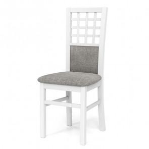 Sedia imbottita Betulla in tessuto grigio con gambe in legno di faggio bianco classica