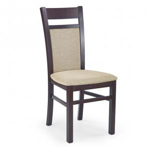 Sedia imbottita Azalea in legno faggio noce scuro tessuto beige classica