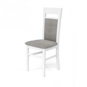 Sedia imbottita Azalea in legno faggio bianco tessuto grigio classica