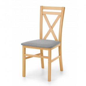 Sedia imbottita Janet in legno faggio rovere miele tessuto grigio classica