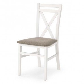 Sedia imbottita Janet in legno faggio bianco tessuto beige classica