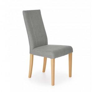 Sedia imbottita Soledad in tessuto grigio chiaro con gambe in legno rovere miele