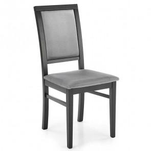 Sedia imbottita Olivia in tessuto di velluto grigio con gambe in legno di faggio nero classica
