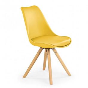Sedia in ecopelle Nives gialla con gambe in legno
