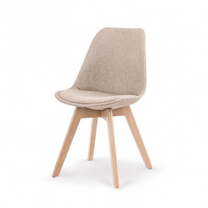 Sedia imbottita Colette in tessuto beige con gambe in legno rovere