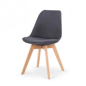 Sedia imbottita Colette in tessuto grigio con gambe in legno rovere
