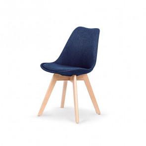 Sedia imbottita Colette in tessuto blu con gambe in legno rovere