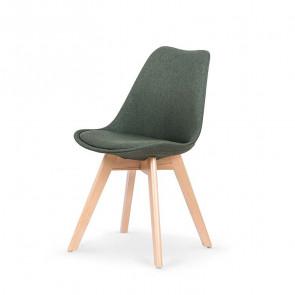 Sedia imbottita Colette in tessuto verde con gambe in legno rovere