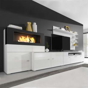 Parete attrezzata Fire Gihome ® bianca soggiorno moderno biocamino