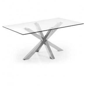 Tavolo vetro Argo Gihome ® con gambe in acciaio lucido