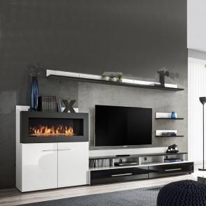 Parete attrezzata Vega Gihome ® soggiorno moderno biocamino bianco e nero lucido