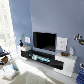 Porta TV moderno Incastro bianco lucido nero