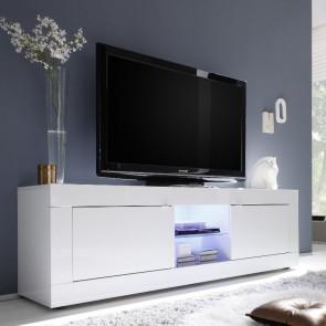 Porta tv 2 ante e vano a giorno Basic bianco lucido