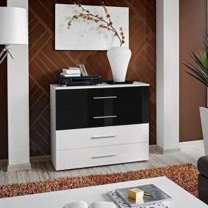 Cassettiera Florida Gihome ® bianca cassetti bianco e nero lucido