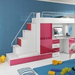 Cameretta per bambini Diego Gihome ® bianco e rosa