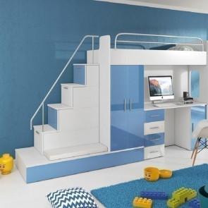 Cameretta per bambini Diego Gihome ® bianco e blu