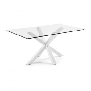 Tavolo vetro Argo Gihome ® con gambe bianche
