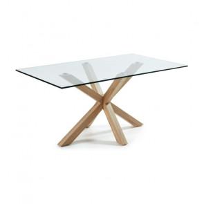 Tavolo vetro Argo Gihome ® con gambe effetto legno