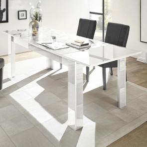 Tavolo da pranzo 137 allungabile Prisma bianco con serigrafia