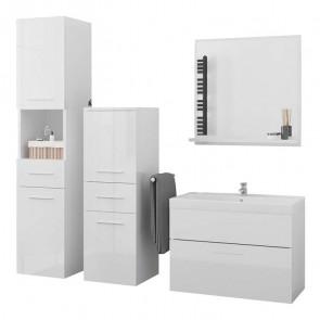 Mobile bagno Gopsi bianco lucido sospeso 2 colonne specchio