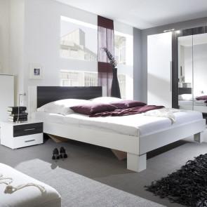 Letto standard 160/200 + comodini Lisa Gihome ® bianco e noce nero