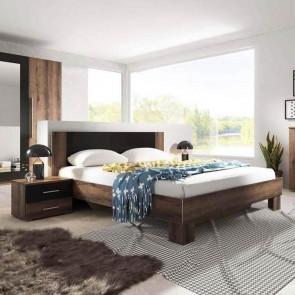 Letto oversize 180/200 + comodini Lisa Gihome ® quercia scura nero