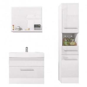 Mobile bagno Leder sospeso bianco lucido specchio