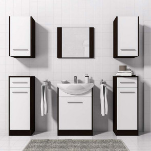 Mobile bagno Jaster wengè e bianco opaco