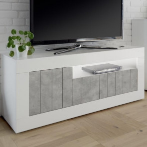Porta tv 3 ante Urbino Bianco Lucido Cemento
