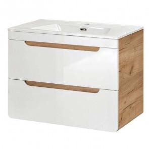 Mobile bagno Ibra 80 rovere bianco lucido
