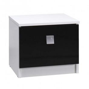 Coppia comodini camera Jenny bianco nero 1 cassetto