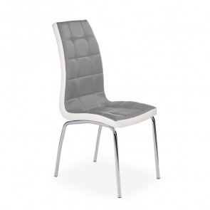 Sedia in ecopelle Clara grigio bianco