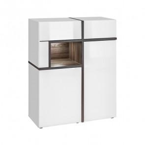 Vetrina bassa soggiorno Mackay Gihome ® bianco opaco bianco lucido moderno