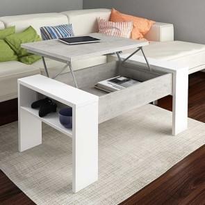Tavolino Emmet Gihome ® bianco cemento con rialzo contenitore