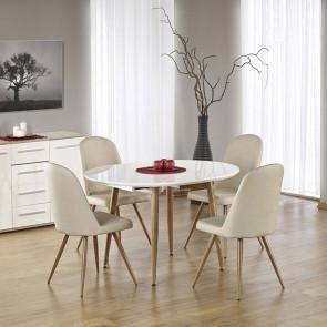Tavolo allungabile tondo Papiro Gihome ® bianco lucido rovere miele