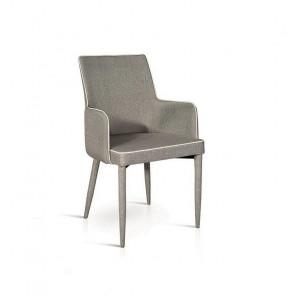 Sedia con braccioli Scarlett Gihome ® tessuto grigio profilo bianco