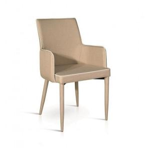 Sedia con braccioli Scarlett Gihome ® tessuto tortora profilo bianco