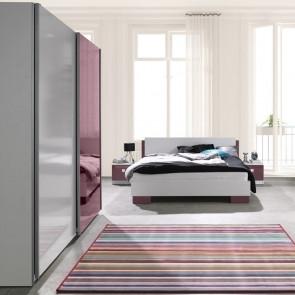 Camera completa Jenny bianco lilla con letto + comodini + armadio